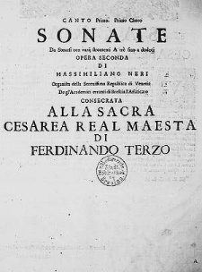 Sonate da sonarsi con varij stromenti a trè, fino a dodeci. Opera seconda [...]