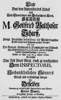 Elegie Bey dem Andencken des Todes des [...] Herrn M. Gottfried Balthasar Scharff [...] Welcher im Jahr 1744. den 9. August. erfolgte, in welcher Den Tod seines [...] Herrn Inspectoris [...] beklaget [...] Gottlieb Sommer [...].