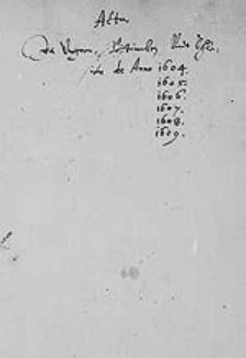 [Acta in Ungarn, Böhmen und Schlesien. 1604-1609]