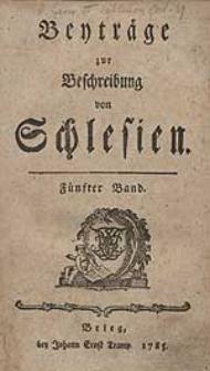 Beyträge zur Beschreibung von Schlesien Bd.5 1785
