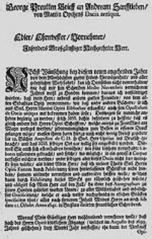 George Preutten Brieff an Andream Sanfftleben von Martin Opitzens Dacia antiqua.