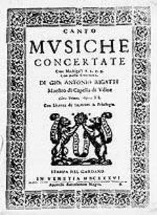 Musiche concertate cioe madrigali a 2. 3. 4. con basso continuo [...] Libro primo. Opera II [...]