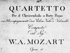 Qartetto [Es] per il clavicembalo o forte piano con l'accompagnamento d'un violino, viola, e violoncello. Composto dal [...] Opera 13 [KV 493, głosy]