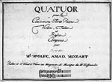 """Quatuor [g-moll] pour le clavecin, ou forte piano, violon, tallie [!] et basse compose par """"Oeuvre XXI"""" [KV 478, głosy] [...]"""