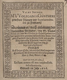 Valet Sermon M. Wolfgangi Güntheri [...].