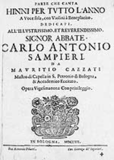 Hinni per tutto l'anno a voce sola, con violini à beneplacito [...] Opera vigesimanona con eccitato [...]