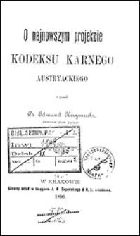 O najnowszym projekcie kodeksu karnego austryackiego
