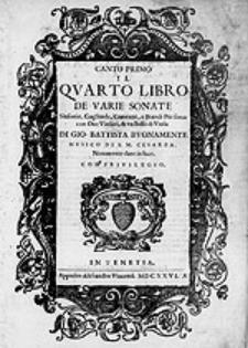Il quarto libro de varie sonate, sinfonie [...]