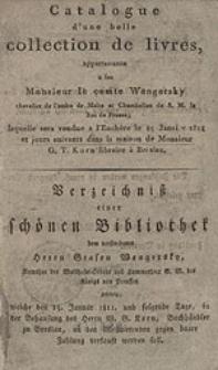 Verzeichniβ einer schőnen Bibliothek dem verstorben Grafen Wengersky