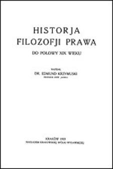Historja filozofji prawa do połowy XIX wieku