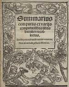 """Summarius computus ex variis computualibus libris breviter recollectus ; cz. rps.: """"Cum iuxta dictum Augustini omnis clericus..."""""""