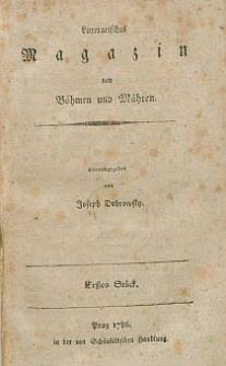 Litterarisches Magazin von Böhmen und Mähren.