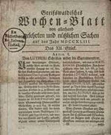 Greifswaldisches Wochen-Blatt von allerhand gelehrten und nützlichen Sachen auf das Jahr MDCCXLIII. Das XII Stück.