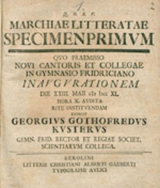 Marchiae Litteratae Specimen [...]