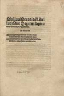 Philippi Beroaldi Libellus Quo Septem sapientium Sententiae Discutiuntur.