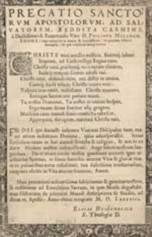 Precatio Sanctorum Apostolorum Ad Salvatorem Redita Carmine […].
