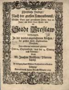 Christliche Predigt Nach der grossen Fewersbrunst [...] gehalten [...] Durch M. Joachim Fleischern [...]