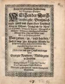 Kurtze und gründliche Beschreibung des Königlichen Einzugs, Welchen der [ ... ]Herr Friedrich König zu Böhemb [...] zu Breßlaw gehalten.
