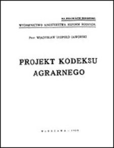 Projekt kodeksu agrarnego