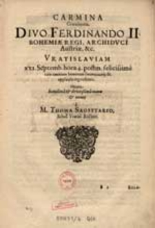 Dive Coronate Rex Bohemiae, [...] Serenissimo [...] Ferdinando [...].