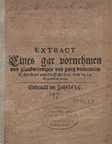 Extract Eines gar vornehmen und glaubwürdigen und gantz vertrawten Schreibens auss der Schlisien, vom 14.24. Decembris 1634.