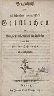 Verzeichniß der itzt lebenden evangelischen Geistlichen im Königl. Preuß. Antheil von Schlesien und der seit dem Jahre 1781 abgegangenen.