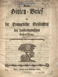 Dritter Hirten-Brief an die Evangelische Geistlichkeit der Landeshuttischen Inspection.