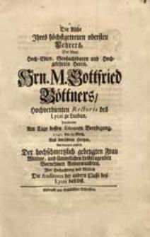 Die Asche Ihres höchstgetreuen [...] Lehrers [...] M. Gottfried Böttners [...] Verehreten Am Tage dessen [...] Beerdigung 1740. den 29. Mertz. [...] Die Auditores der andern Classe [...].