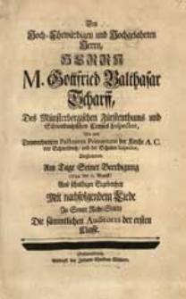 Den Hoch-Ehrwürdigen und Hochgelahrten Herrn [...] M. Gottfried Balthasar Scharff [...] Begleiteten Am Tage Seiner Beerdigung (1744. den 12. August) [...] Die [...] Auditores der ersten Classe.