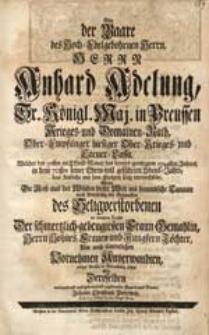 Bey der Baare des [...] Herrn Anhard Adelung [...] Welcher den 30sten im Christ-Monat des [...] 1744sten Jahres [...] das Zeitliche mit dem Ewigen [...] verwechselte / Wolte Die Reise aus der Wüsten dieser Welt [...] in Betrachtung ziehen [...] Johann Christoph Peterwitz [...].