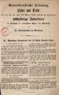 Antrittspredigt von Propst Decke an Bernhardin gehalten bei seiner Einführung am 27. Nov. 1898.