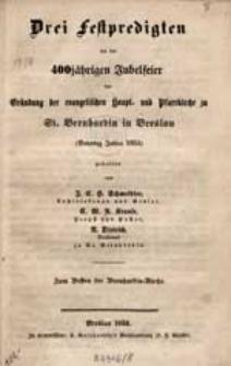 Kurzgefasste Chronik der Bernhardinkirche in Breslau / zgst. von Propst Decke.