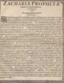 Zachariae Prophetae explicationem audituris [...] / precatur Zacharias Hermannus.
