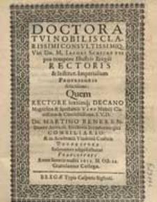 Doctoratui Nobilis, Clarissimi [...] Dn. M. Iacobi Schickfuss pro tempore Illustris Bregei Rectoris [...], Quem [...] Solenniter adipiscebatur Francofurti Anno [...] 1612. M. Oct. 22. / Gratulantur Collegae.