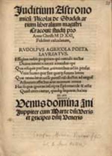 Juditium Astronomicu[m] Nicolai de Shadek [...] pro Anno Christi M D XXI Fideliter calculatum [...].