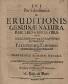Per Schediasma De Eruditionis Genuinae Natura Partibus & Effectibus edisserens [...] Patronos [...] ad audiendam [...] Orationem de Praestantia Humanae Naturae [...] invitat M. Friedrich Gude [...].