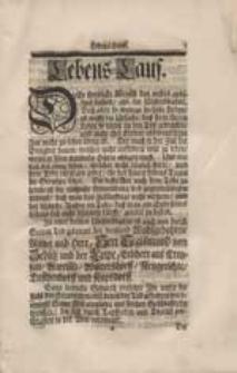 Lebens-Lauf [życiorys Sigismunda von Zedlitz].