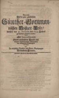 Bey dem Gott gebe glücklichen Günther-Bornmannischen Hochzeit-Feste [...] wolten aller Interessenten [...] Freude [...] vermehren Drey [...] Freunde [i.e. Johannes Neunhertz, Gottfried Edelmann, Gottfried Hoffman].