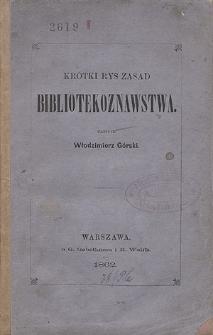 Krótki rys zasad bibliotekoznawstwa