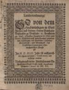 Landesordnung so von dem Hochwürdigen [...] Balthasar Bischoffen zu Breßlaw [...] ist auffgerichtet [...].