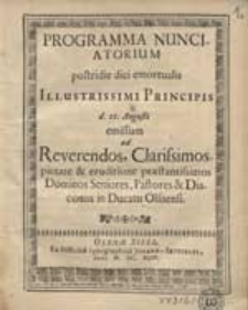 Programma Nunciatorium Postridi diei emortualis [...].