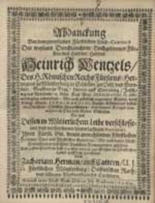 Abdanckung Bey dem [...] Fürstlichen Leich-Conduct [...], durch Zacharias Herman [...].