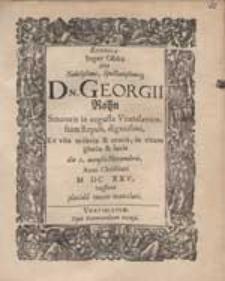 Epicedia Super Obitu [...] Georgii Rohn [...].