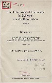Die Franziskaner-Observanten in Schlesien vor der Reformation. Dissertation ...