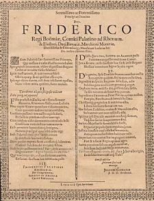 Serenissimo ac Potentissimo Principi ac Domino Dno. Friderico [...].