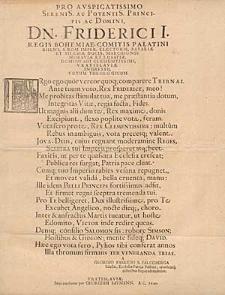 Pro Auspicatissimo Serenis. Ac Potentis. Principis Ac Domini, Dn. Friderici I. […] Ingressu […] Votum Theologicum […].