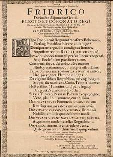 Votum Serenissimo Ac Potentissimo Principi ac Domino Dn. Friderico […].