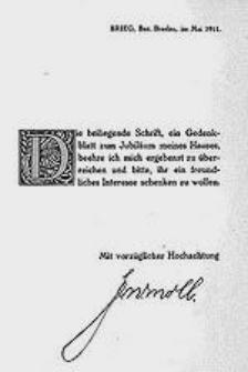 Die Geschichte der Lederfabrik F. W. Moll, Brieg, Bezirk Breslau 1811-1911, Ein Gedenkblatt.