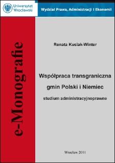 Współpraca transgraniczna gmin Polski i Niemiec - studium administracyjnoprawne