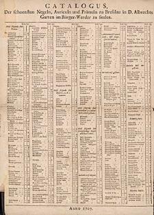 Catalogus Der schoensten Negeln, Auriculn und Primuln zu Bresslau in D.Albrechts Garten im Bürger-Werder zu finden